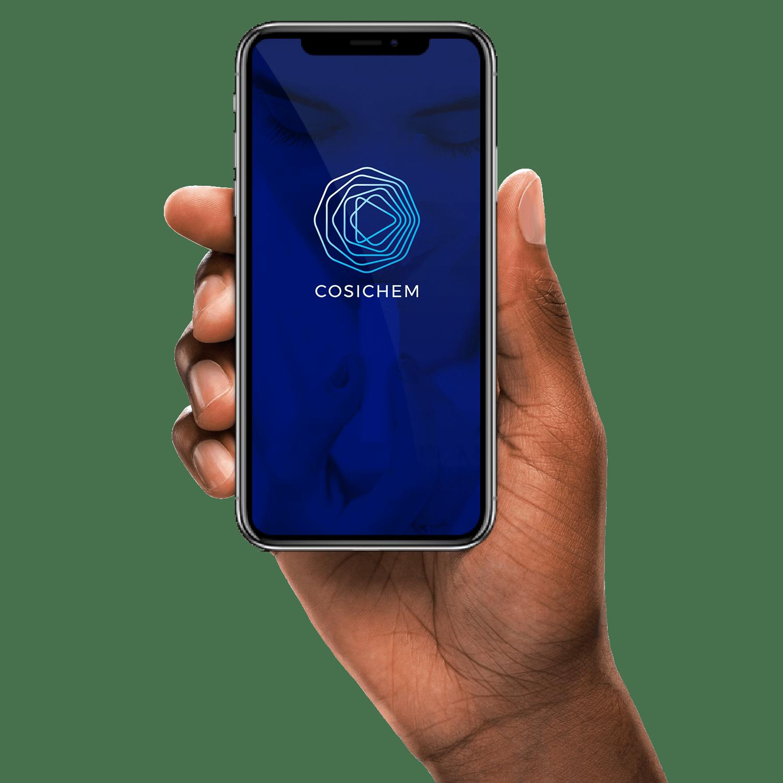 Smartphone mit Cosichem Logo