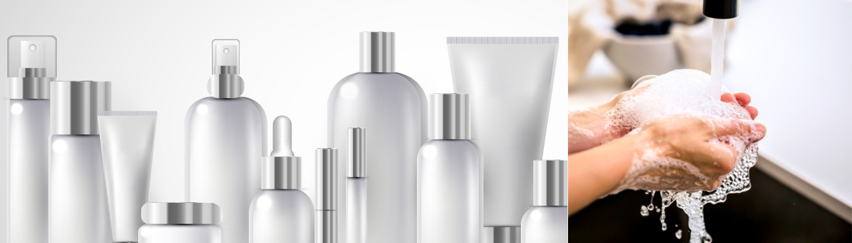 Kosmetikverpackungen und Händewaschen